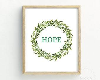 Hope Print | Hope | Hope Quote | Motivational Quote | Typography | Printable Art | Wreath Print | Postitive quote | Art for bedroom