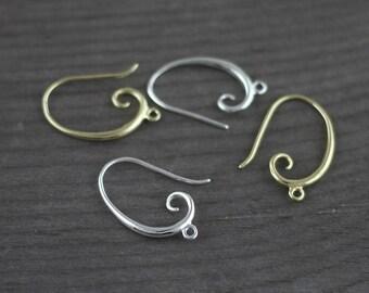 4pcs Silver Plated Earring Hooks, Fish Hooks,, Silver Plated Earrings, Earrings Findings 19x10mm