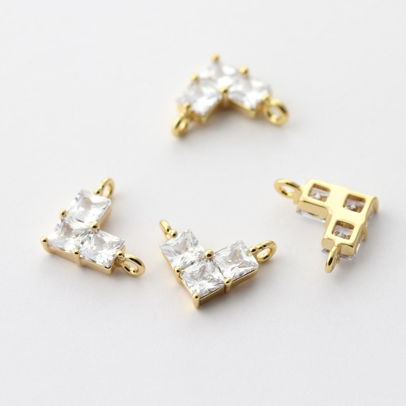4pcs Plated Gold Zircon Heart Connector Charm 13x10x3.5mm