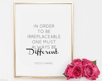 Dorm Decor, quotes, fashion quote, printable, art, inspirational quote, motivational quote, coco chanel,  office decor, dorm decor,