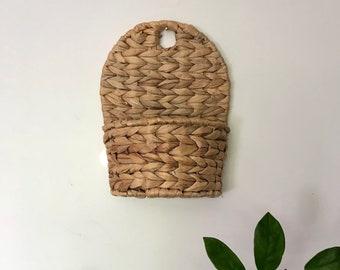 Vintage Wicker Plant Holder/Wicker Wall Basket/Basket Hanging