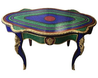 Glass Mosaic Side Table With Gilt Bronze / Tavolo A Chitarra / Tavolo Con  Mosaici / Glass Mosaic Side Table / Glass Mosaic / Gilt Bronze