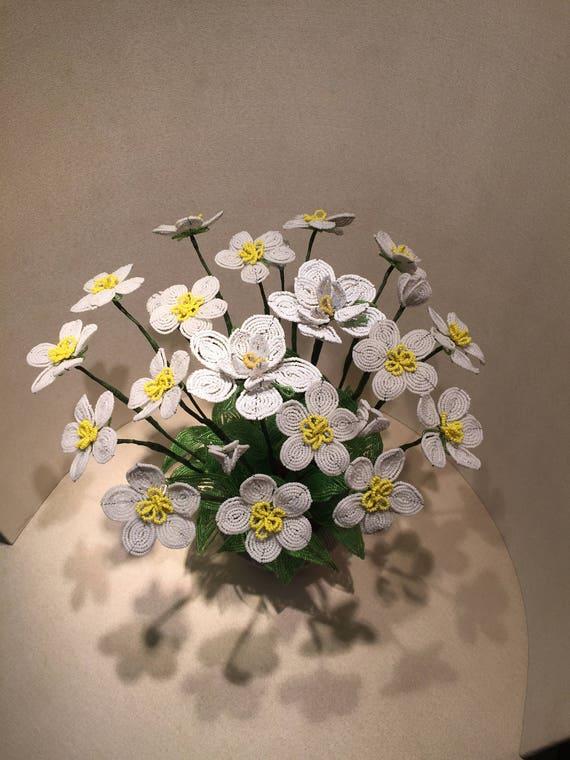 Flower Vase Pearl Flowers Antique Pearls Minute Beads Floral Etsy