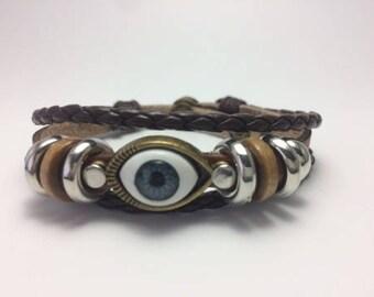 Leather bracelet,lucky eye,bracelet  brown color...