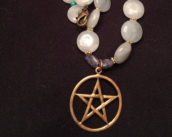 Blue Chalcedony Brass Pentacle Necklace