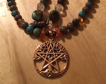 Copper Pentacle Necklace with Turquoise and Amber Beads