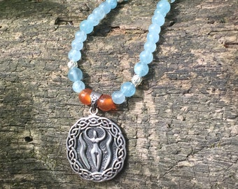 Nile Goddess Aquamarine and Sterling Silver Necklace
