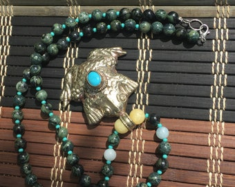 Witches' Toad Animal Spirit Gemstone Beaded Necklace
