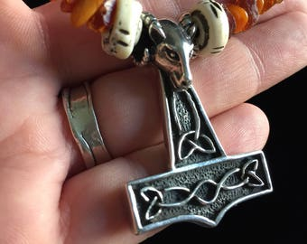Sterling Silver Ram-Headed Thor Hammer (Mjöllnír) Necklace with Red Tiger Eye and Amber Beads