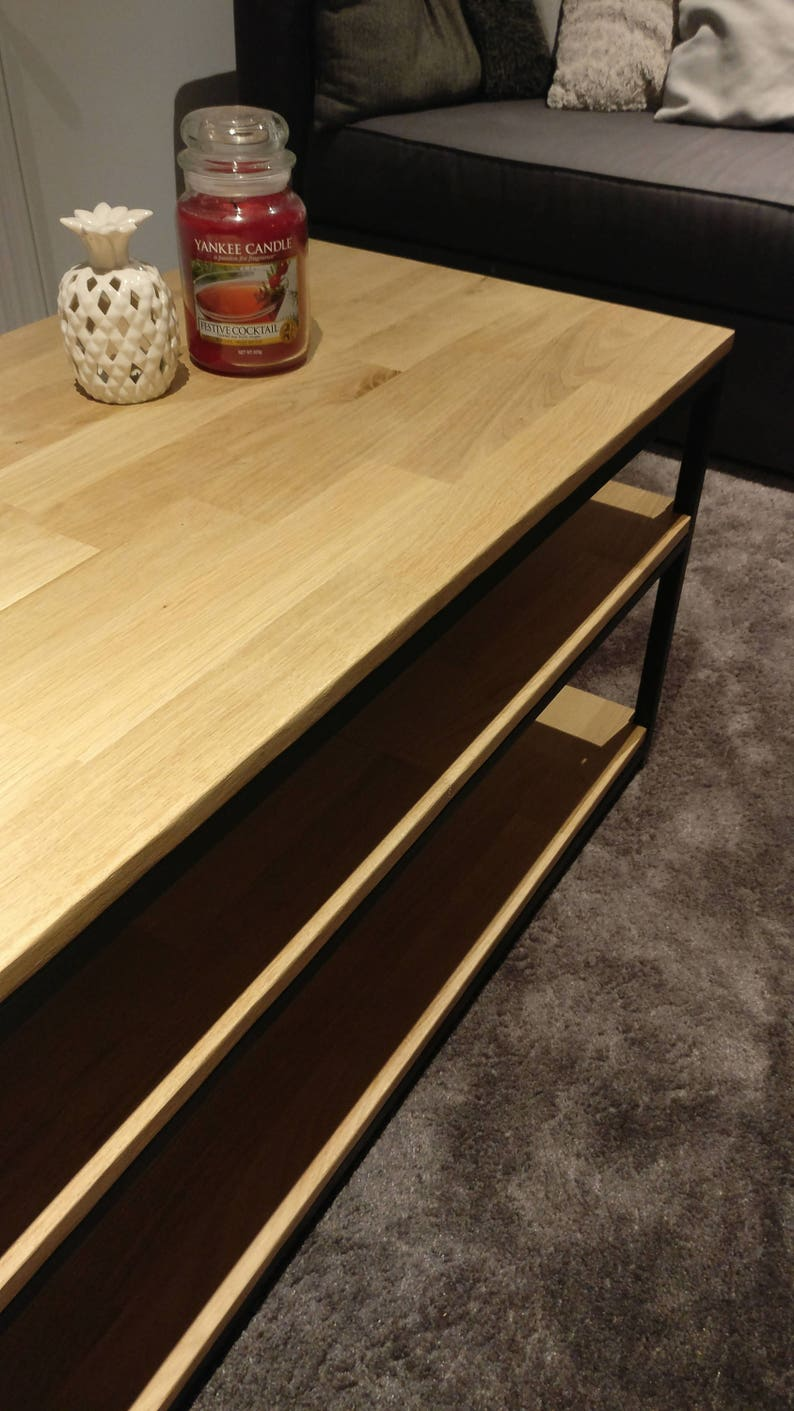 Table low oak and steel industrial 3 trays
