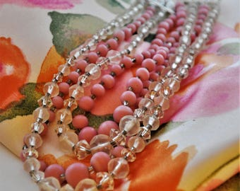 1950's Multi-strand Pink and Crystal Necklace