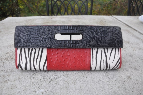 1990's Zebra, Black, Red Leather Clutch Handbag