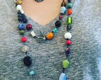 Boho glass and leather necklace