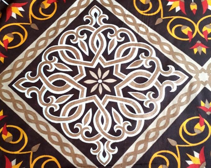 Tissu patchwork égyptien au mètre. Motif africain damier et fleurs de lotus pour  confection sacs à main, couture coussins, ameublement