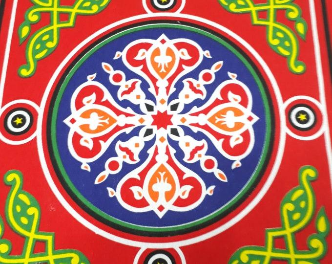Toile en coton rustique. Différentes longueurs. Motif mandala multicolore . Fabriqué en Egypte. Tissu égyptien pour confection nappe rideau
