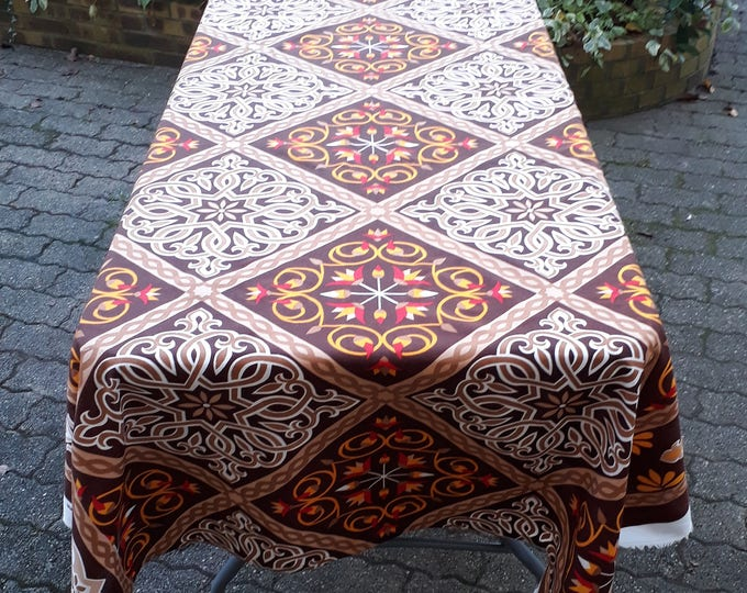 Bohemian tablecloth rectangle for rustic home. Egyptian lotus flowers. Traditional designs. Ideal for outdoor table cover
