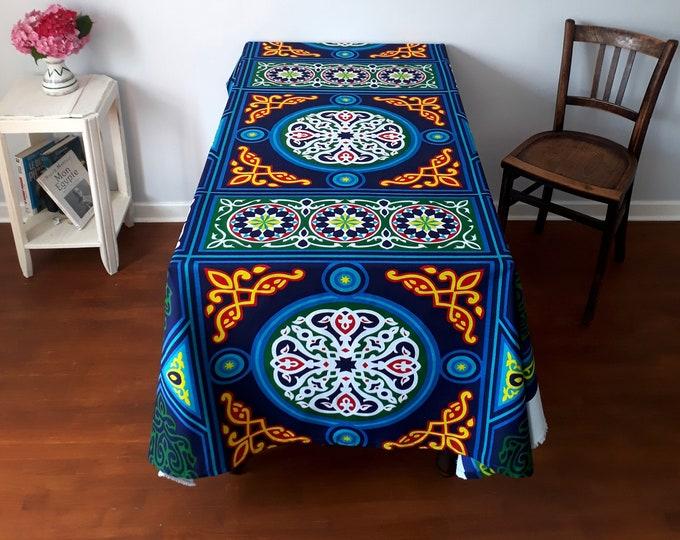 Nappe mandala ethnique aux couleurs très vives. Tenture murale égyptienne. Cadeau original. Nappe décorative pour table de fête.