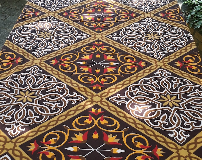 Brown arabesque ethnic tablecloth rectangle cotton Arabic fabric lotus flower khayameya 200cm square 140 guest gift table decoration