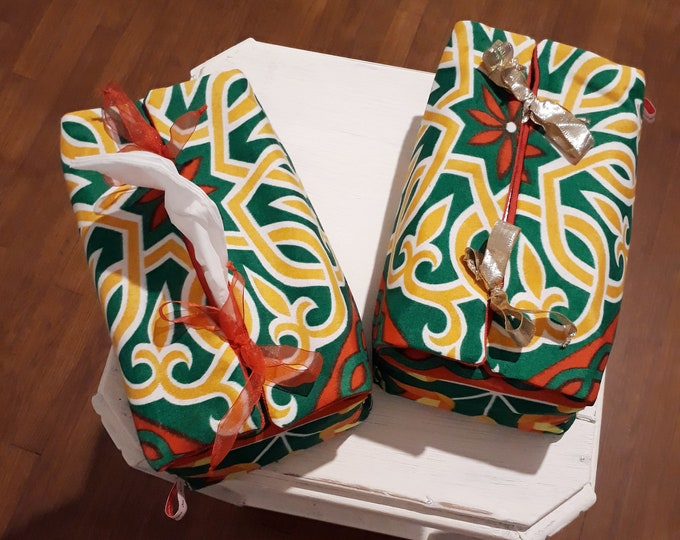 Decorative fabric tissue box.  Ribbon closures. Egyptian motifs. Arabesque. Gift for friends, parents.