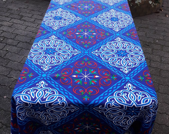 Rectangular tablecloth floral indigo polycotton. Fabric printed in Egypt. Ethnic wall decor or banquet table. Gift idea