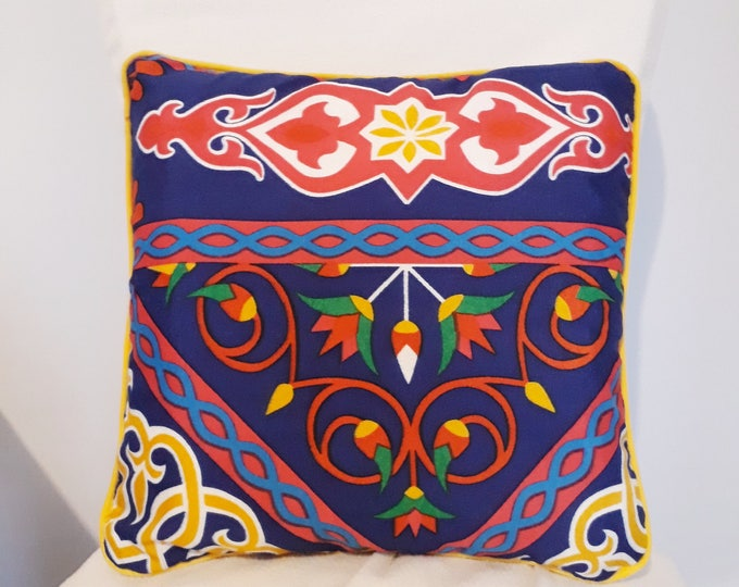 Purple Egyptian pillow fabric khayameyya removable of lotus flower for a matching solid color sofa or Chair ethnic decoration