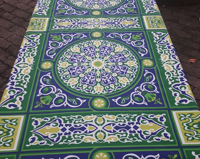 Arab khayamiya fabric or fabric tablecloth tries green mandala width 140 cotton ornament table decoration for wall or throw