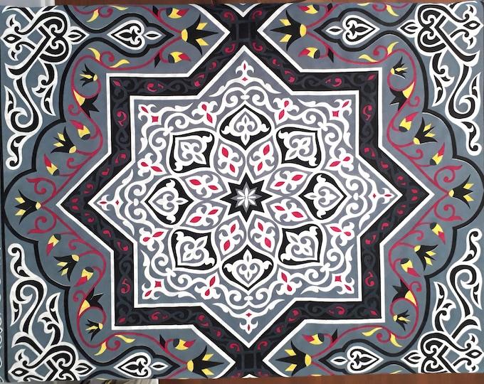 Tissu grande étoile au mètre avec lotus et arabesque pour confection de nappes ou centre de table. Unité = une étoile = 85 cm = 0.93 yard