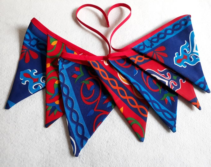 Fabric Bunting Egyptian khayameya. Ramadan Bunting. Red and blue triangles. Ethnic Garland for birthday. Ramadan decoration