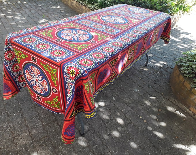 Ramadan Egyptian hanging khayameya fabric tablecloth red and blue mandala for decorating festive table or to cover sofa Chair