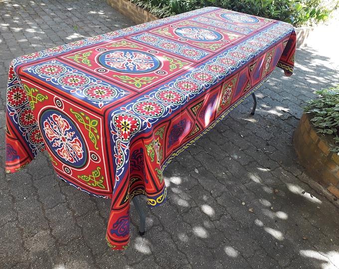 Nappe ramadan en tissu khayameya tenture égyptienne mandala rouge et bleu pour décoration table de fête ou pour couvrir canapé fauteuil