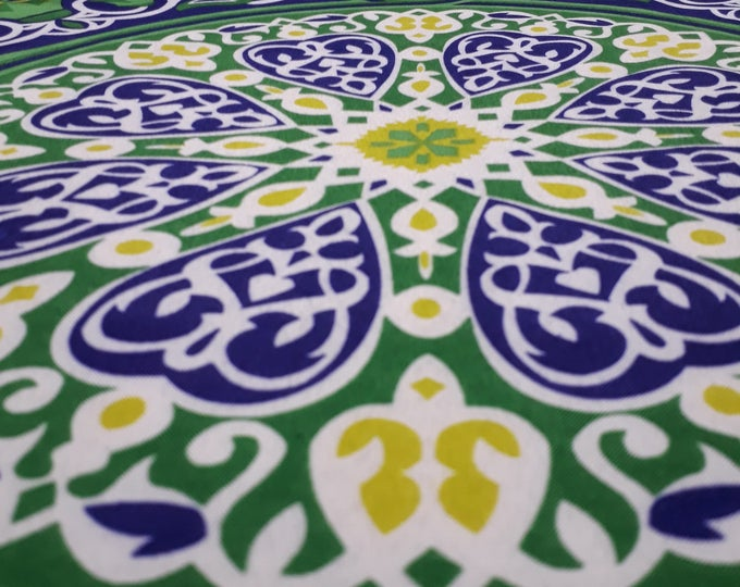 Exotic cotton fabric. Geometric mandala design. Country atmosphere - ethnic fabric for making tablecloth and wall hanging
