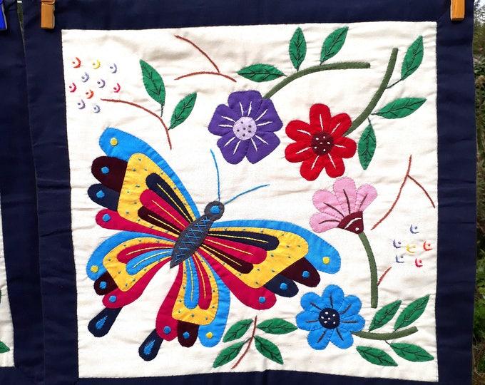 Petite tenture murale - Khayameya - patchwork - appliqué - quilting - artisanat égyptien - papillon