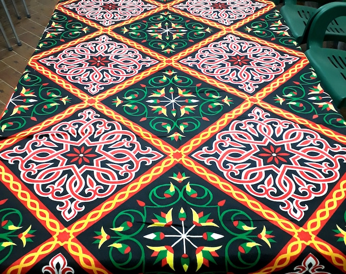 Egyptian folk floral table cover. Different lengths. Suitable for outdoor party table, garden table.