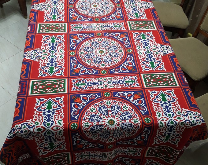 Oriental fabric in cotton. Rustic solid canvas. Ideal for outdoor cushions covers couture. Making garden tablecloth