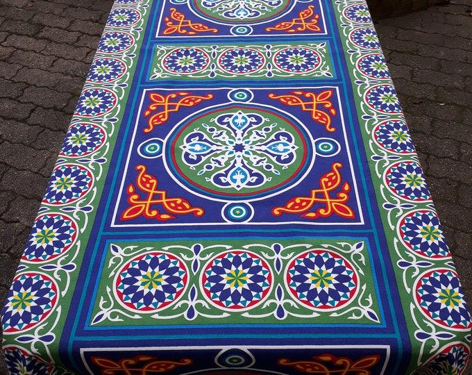 Nappe égyptienne simple khayameya rectangle mandala bleu coton. Décoration de table ethnique. Tissu mural. Cadeau hôtesse. Mariage arabe