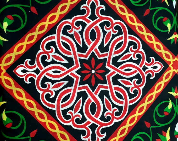 African flower fabric for sewing pants ethnic light meter. Dark and colorful arabesque pattern. Ideal fabric for cushion sofa
