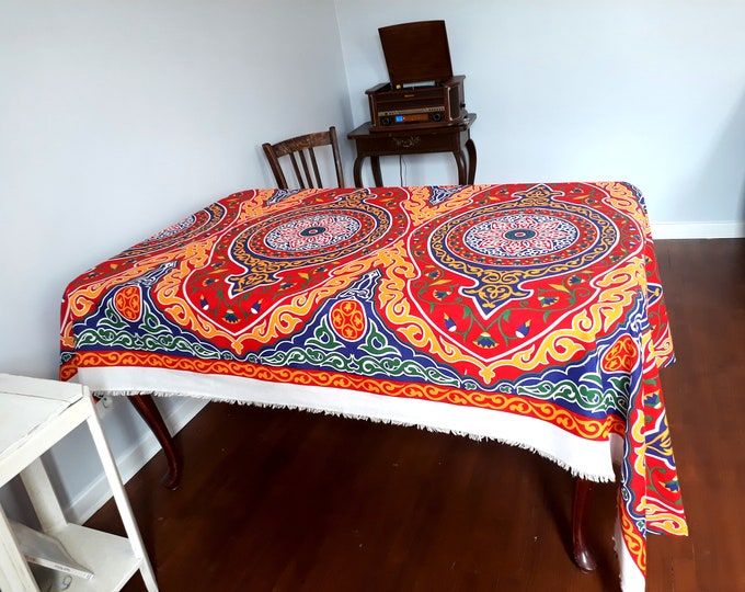 Nappe khayameya style nappe mexicaine rectangle. Tenture murale mandala. Touche de couleur dans déco minimaliste. Idée originale cadeau