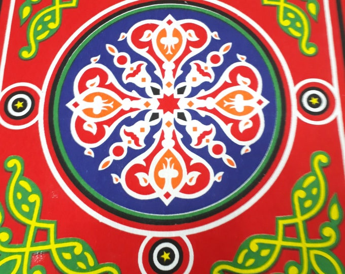 Egyptian folk tablecloth with colorful mandala print. Ideal for festive table decoration. Original hostess gift