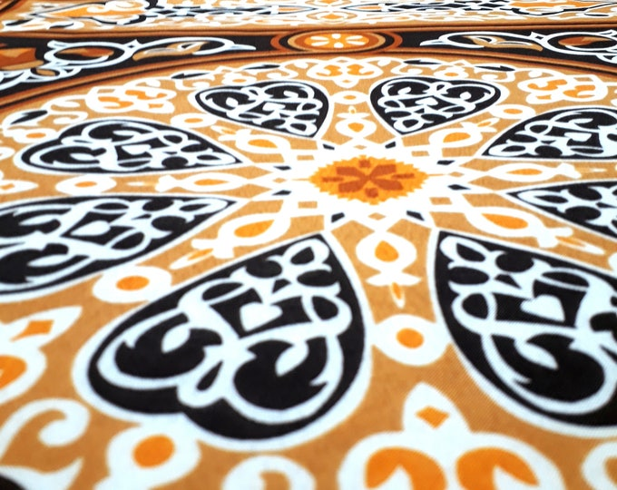 Fabric khayameyya brown beige pattern traditional ethnic mandala arabesque for making furniture and couture dress