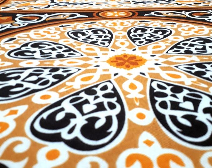 Tissu khayameyya marron beige au mètre motif traditionnel ethnique mandala arabesque pour confection ameublement et couture habillemement