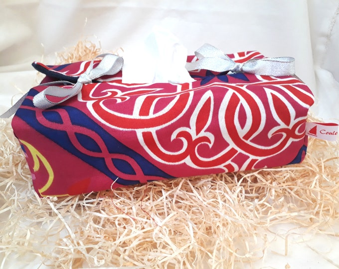 Fabric rectangle tissue box covers Egyptian motifs khayameyya purple. Exotic home accessory. Gift for girl