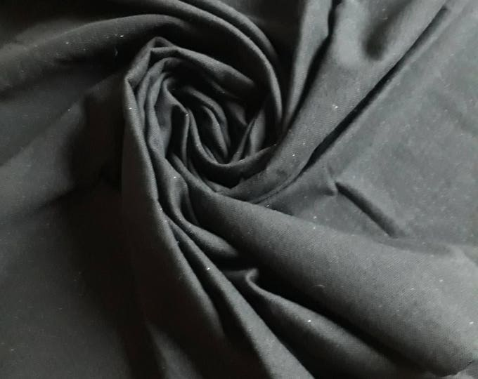 Thick fabric 150 cm wide - 1.64 inches for the lining of bag sturdy and rustic plain black cotton for sewing and creative arts.