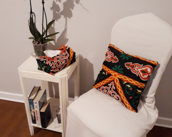 Arab cushion with Egyptian motifs. Arabesque. Ethnic decor. Matching solid color sofa or Chair