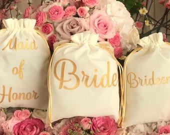 Bride velvet drawstring pouch