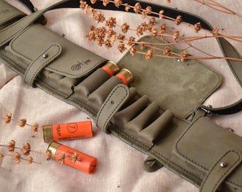 Closed handmade leather bandolier cartridge belt hunting equipment w/ 24 Pockets