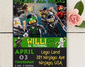 Nnjago invite, Ninjago Invitation, Ninjago Birthday, Ninjago Invitation, Ninjago Party, Lego Ninjago Invitation, Lego Ninjago PDF Editable