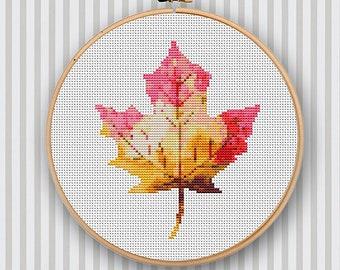 Modern Cross Stitch Design Watercolor Maple Leaf Pattern PDF
