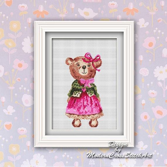 Cross Stitch Teddy Bear Pattern Modern Baby Bear Embroidery Etsy