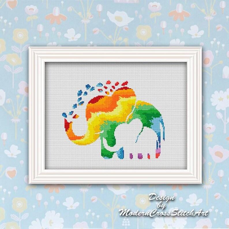 Counted Cross Stitch Elephant Rainbow Pattern Cross Stitch Pdf Pattern Elephant Baby Safari Animal Cross Stitch Baby Shower Watercolor Art
