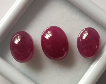 11.5-12 MM Size Natural Ruby Oval Shape Smooth Cabochons 5 Pcs C3617 AAA Quality Loose Gemstone Ruby Cabochons Wholesale Gemstone
